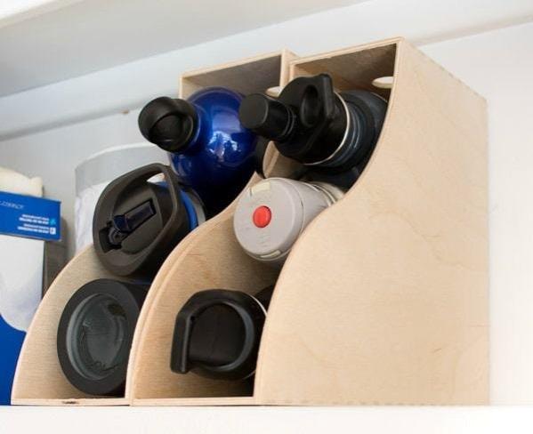 water bottle storage in file holders