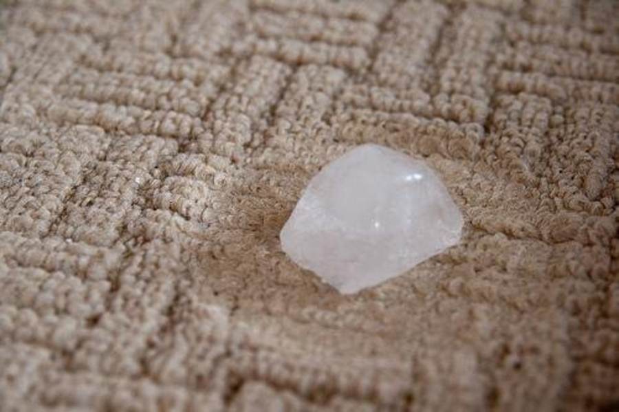 use ice cubes to fluff carpet dents