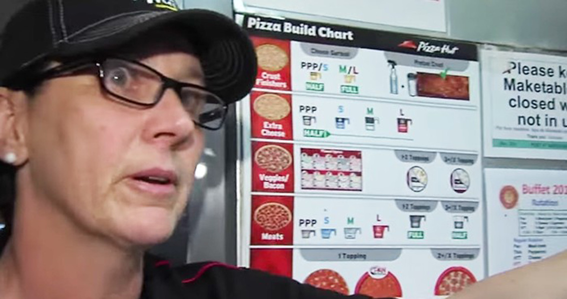 employee discusses pizza save