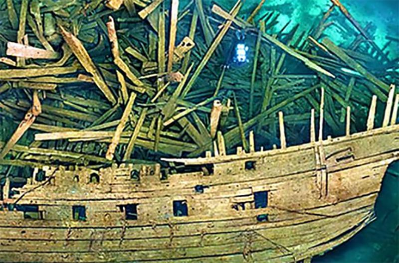 Sunken Swedish Ship At Bottom of Sea