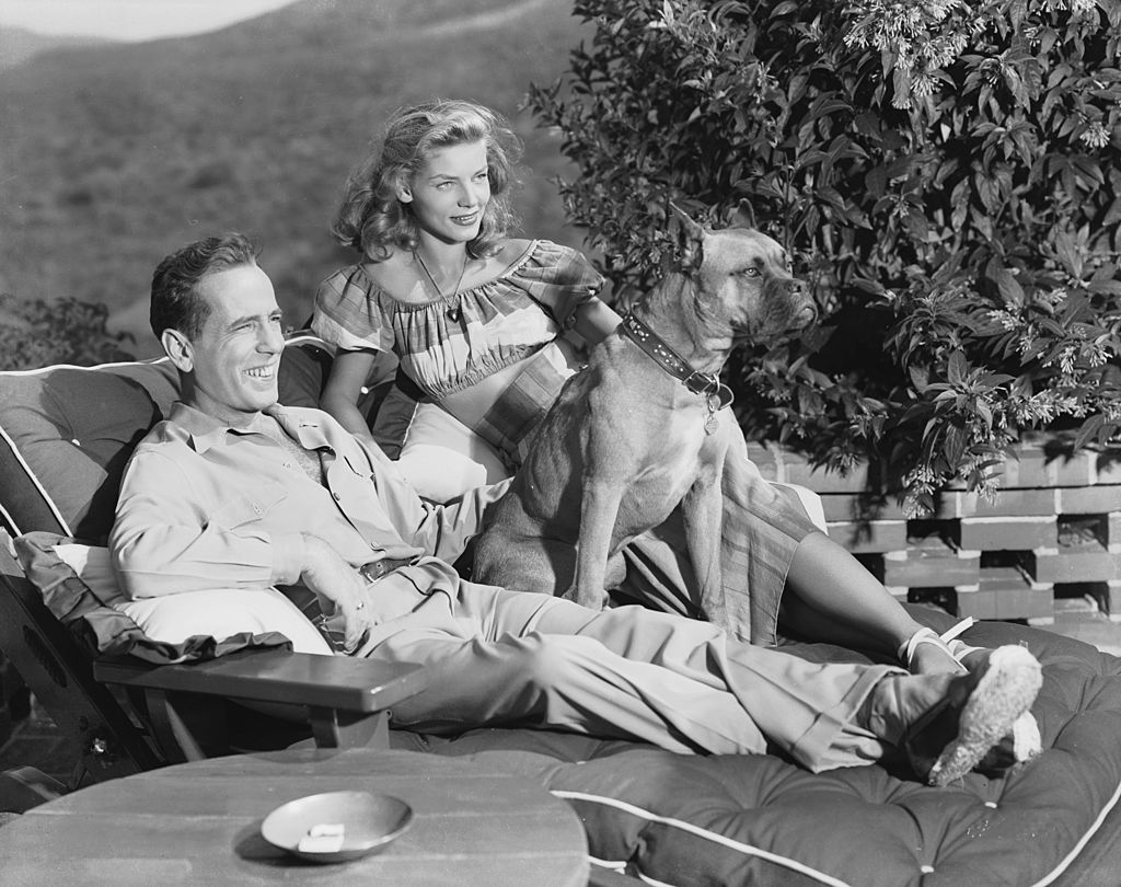 the couple relaxing with their dog