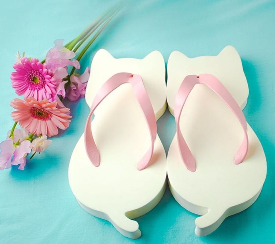 cat sandals adorable blue pink and white