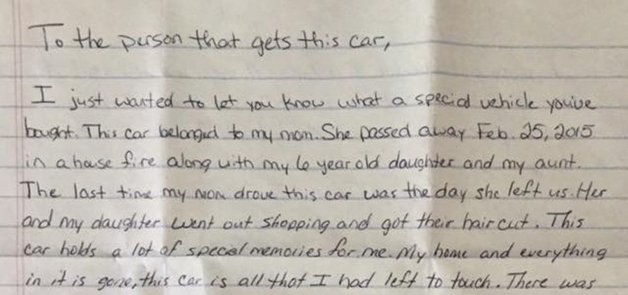 letter found in a ford fusion