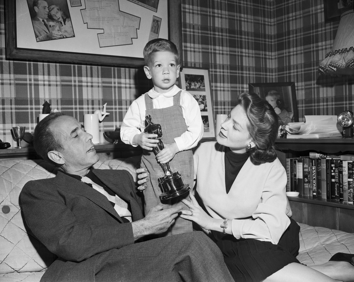 Stephen Bogart with his parents, Humphrey Bogart and Lauren Bacall
