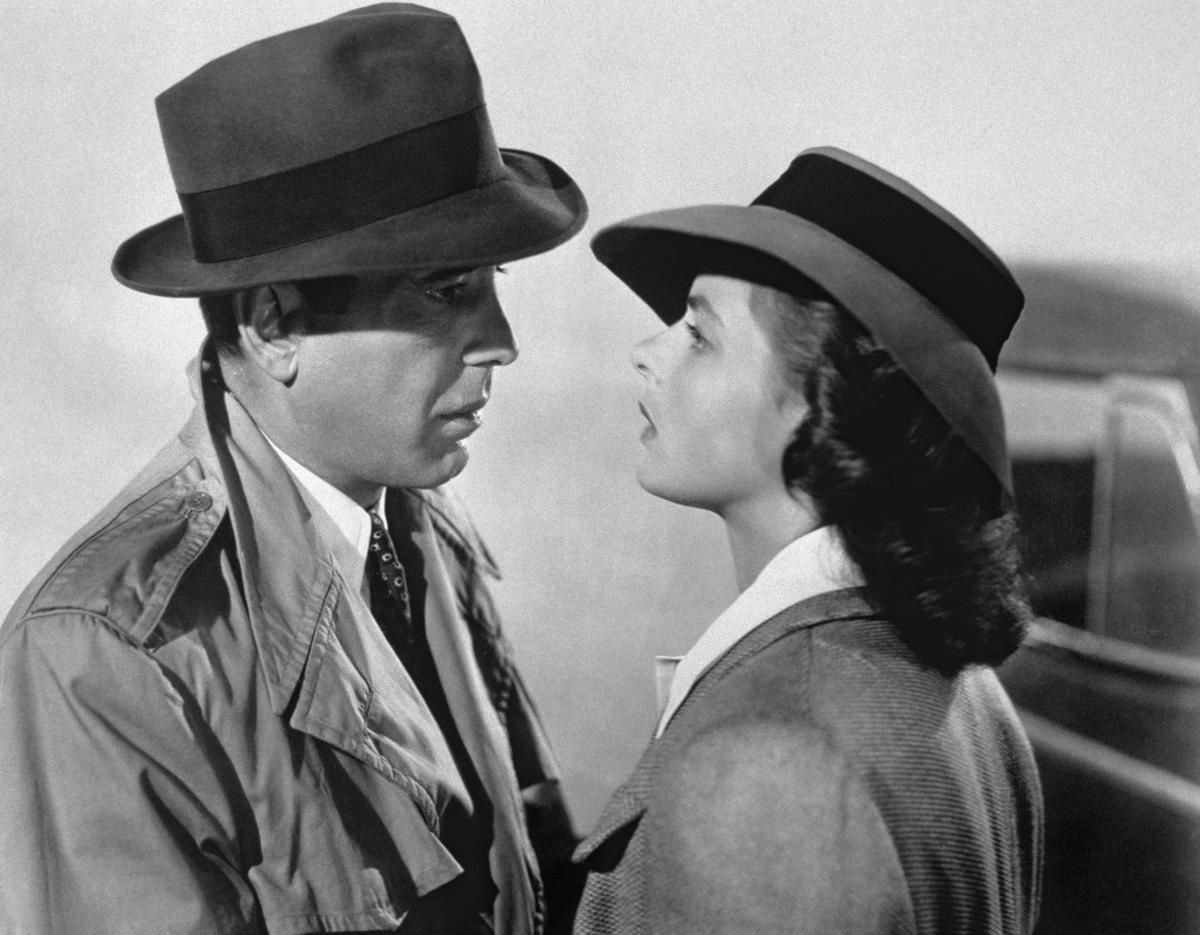 American actor Humphrey Bogart and Swedish actress Ingrid Bergman on the set of Casablanca