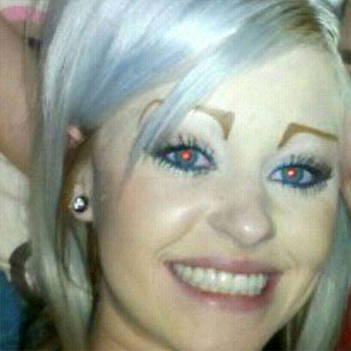 a girl with bad eyebrows