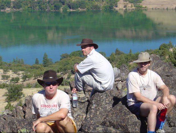 three of the five friends at Copco Lake, California