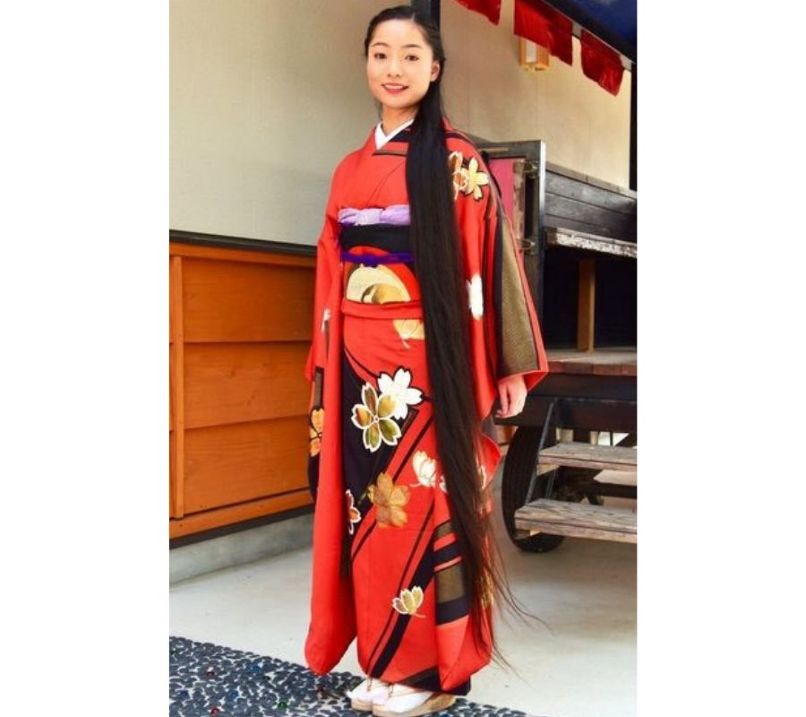 The Girl wear Kimono with long hair