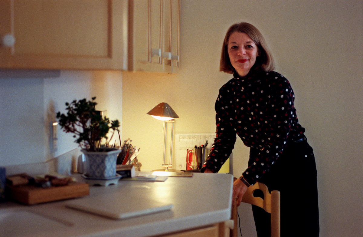 Pam McNulty, Tastemaker, here at her kitchen desk where she plans things like the menu for her upcoming Christmas party