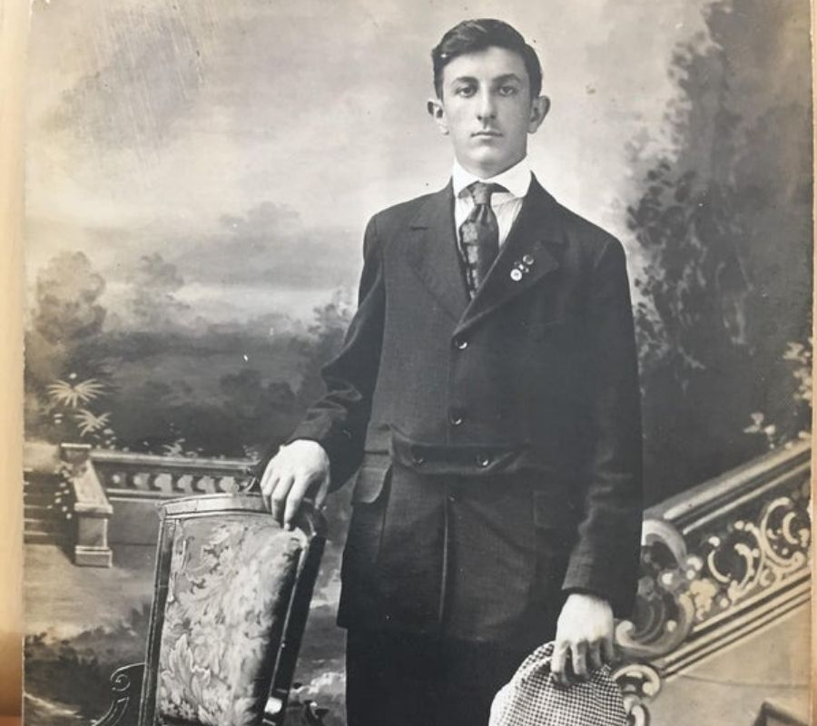 man posing black and white photo