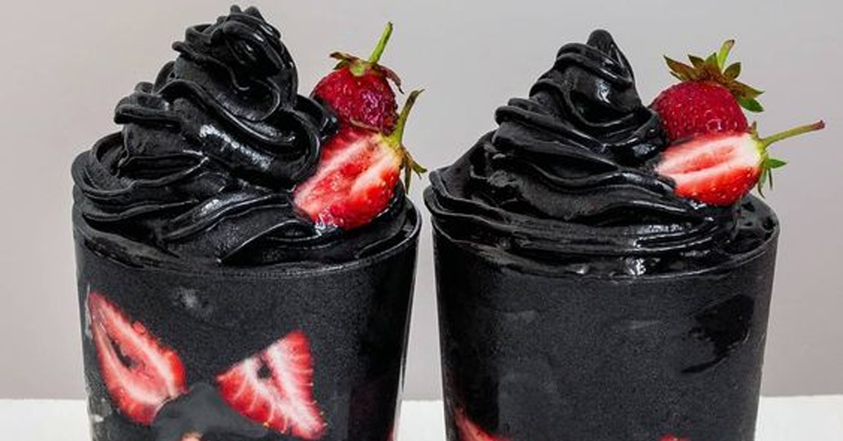 activated charcoal parfaits with strawberries