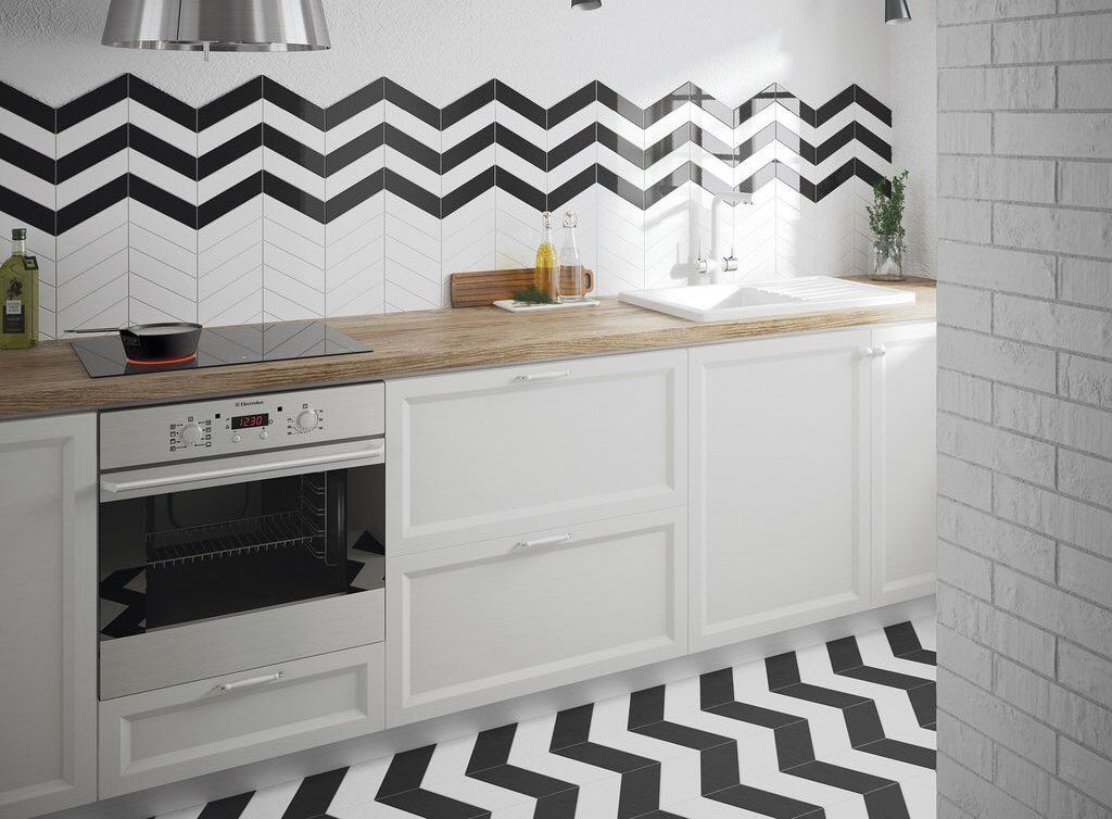 Black and white chevron designed walls and floor kitchen