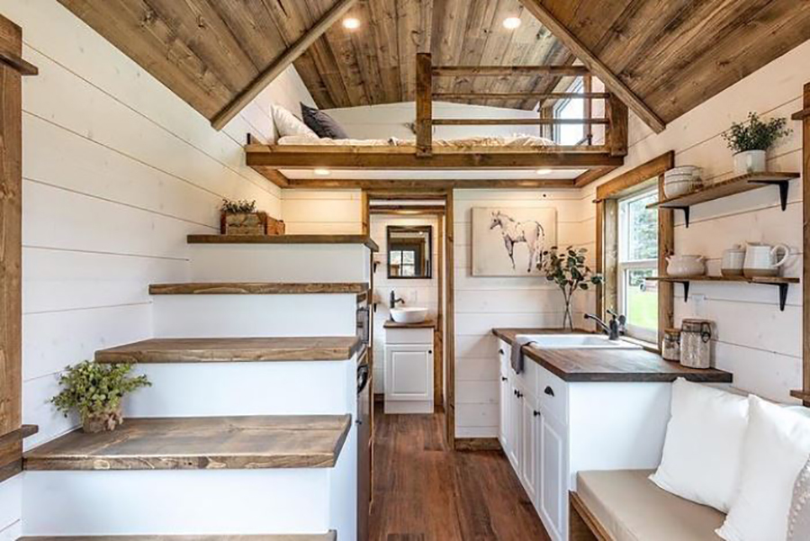 wood and white shiplap tiny house