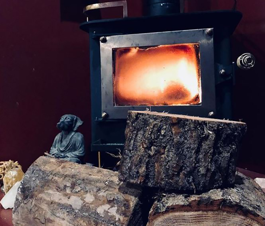 wood stove used to heat tiny home