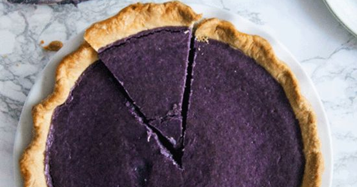 a purple pie made with ube