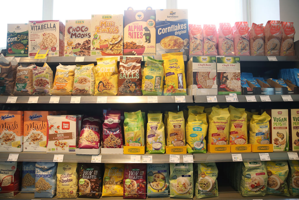 vegan cereal on a shelf at a grocery store