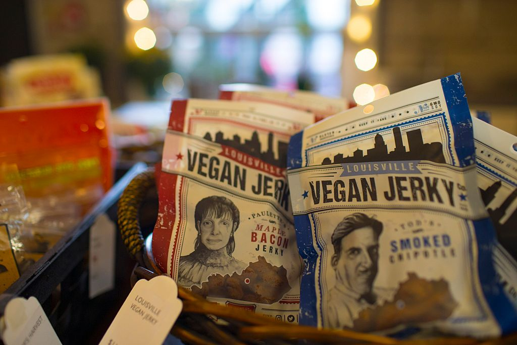vegan jerky packages in a basket