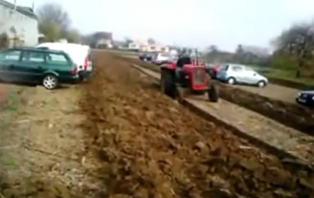 Plowing behind cars