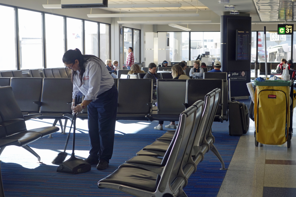 cleaning up a mess at the airport