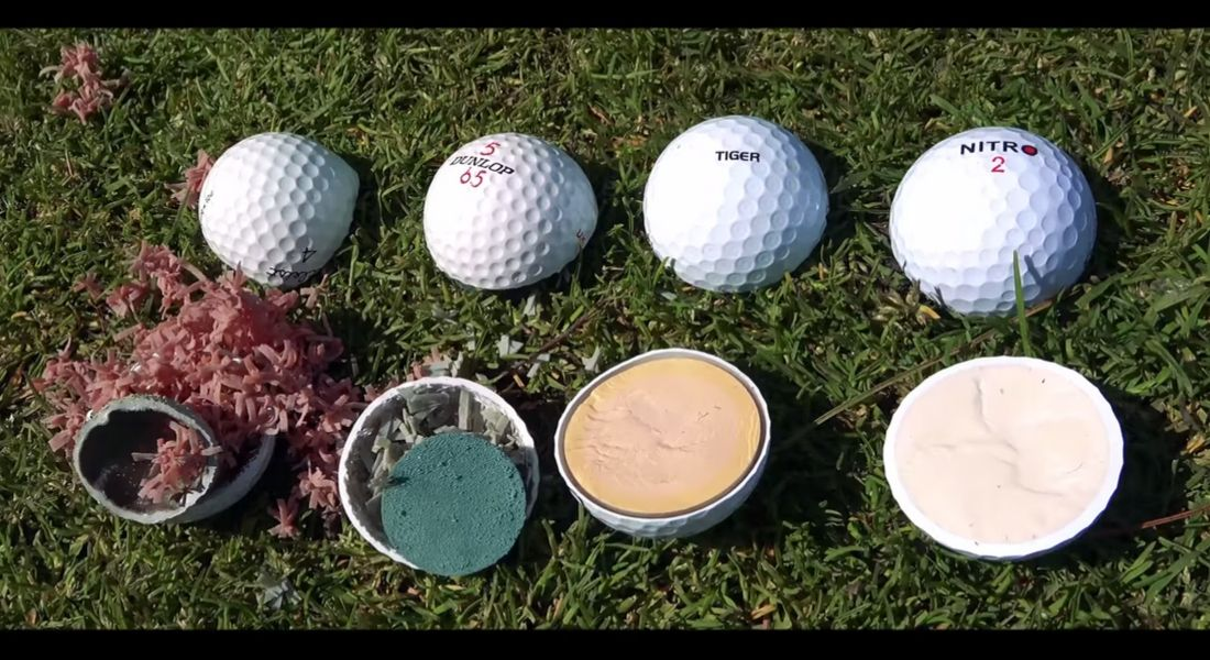 golf balls cut in half to see the insides