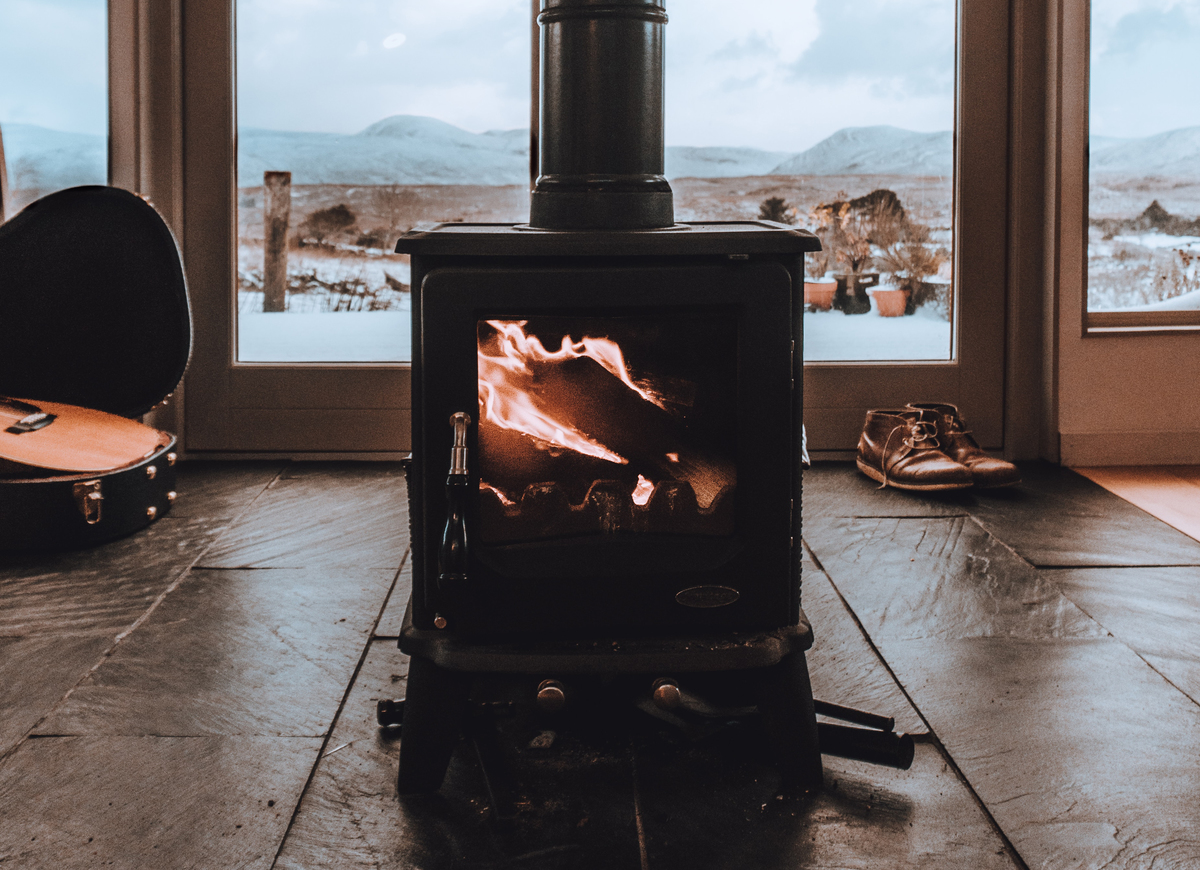 Burning fireplace in a home in Ireland