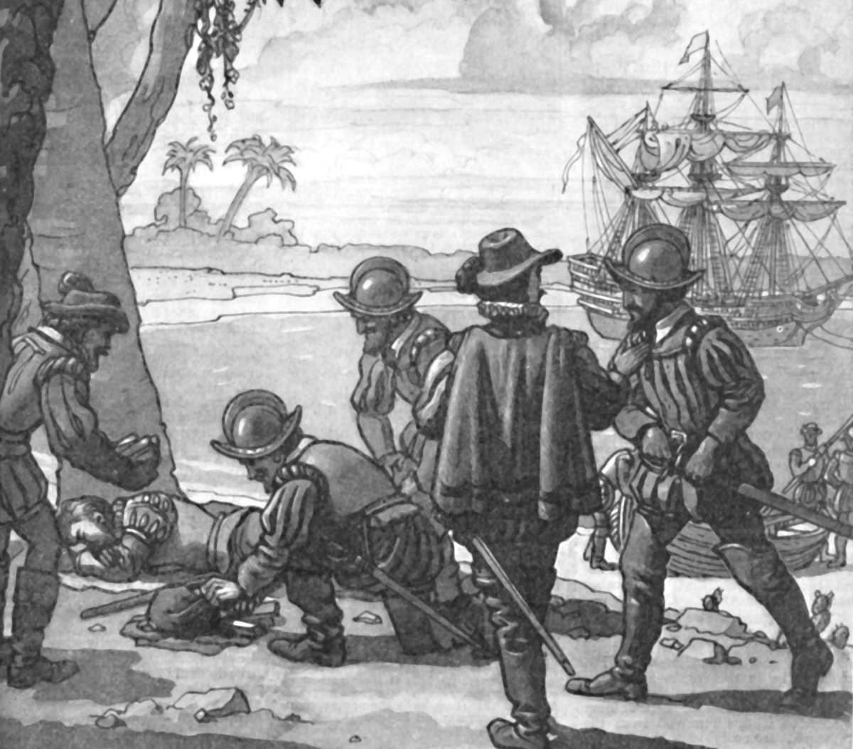 Illustrations of English privateers and Sir Francis Drake from 1934