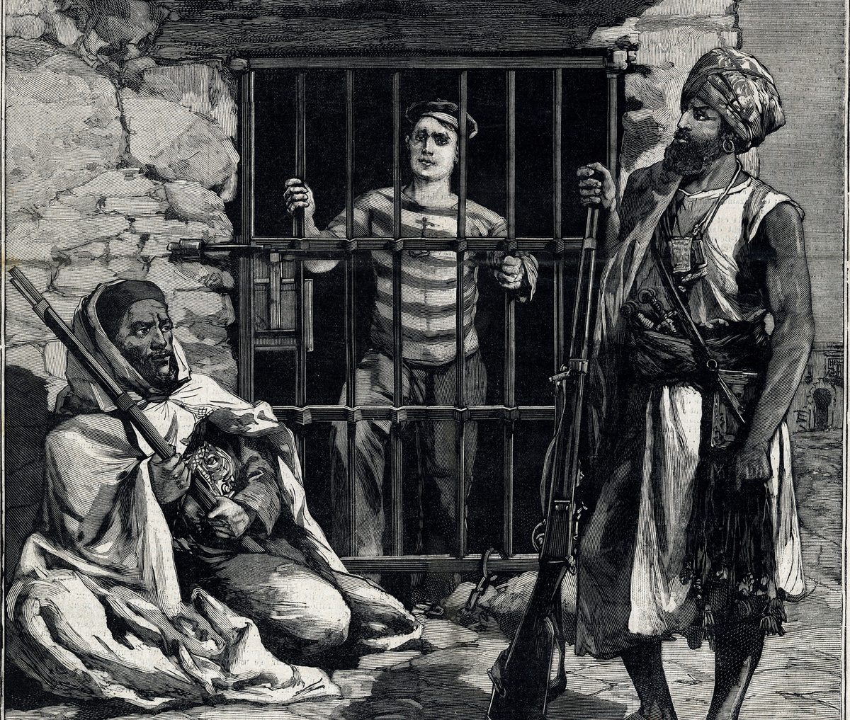 Art depicts sailor Paul Peinen being kept captive by two pirates