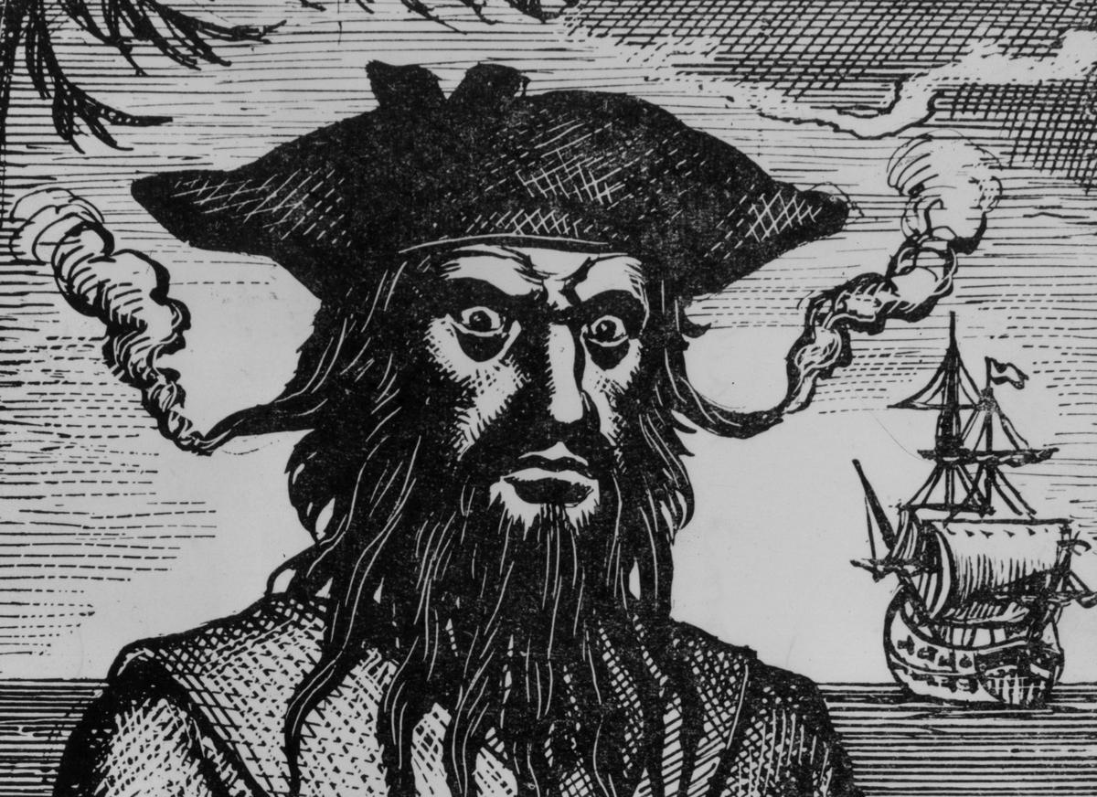 Illustration of Captain Edward Teach, otherwise known as Blackbeard