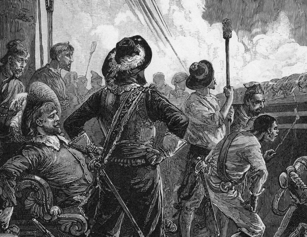 Welsh-born privateer Henry Morgan makes an assault on the Venezuelan settlement of Gibraltar with his crew of buccaneers, 1669.