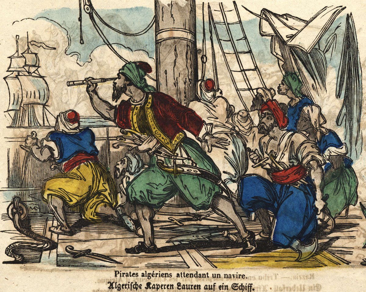 Woodblock print depicts Algerian pirates on a ship