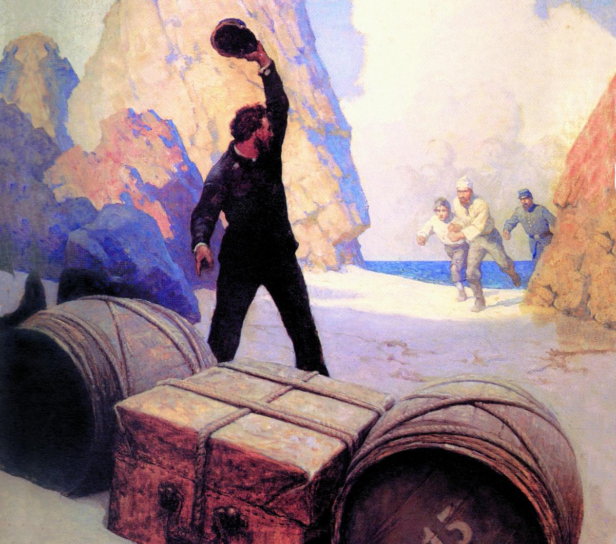 Painting displays men running toward treasure on a beach