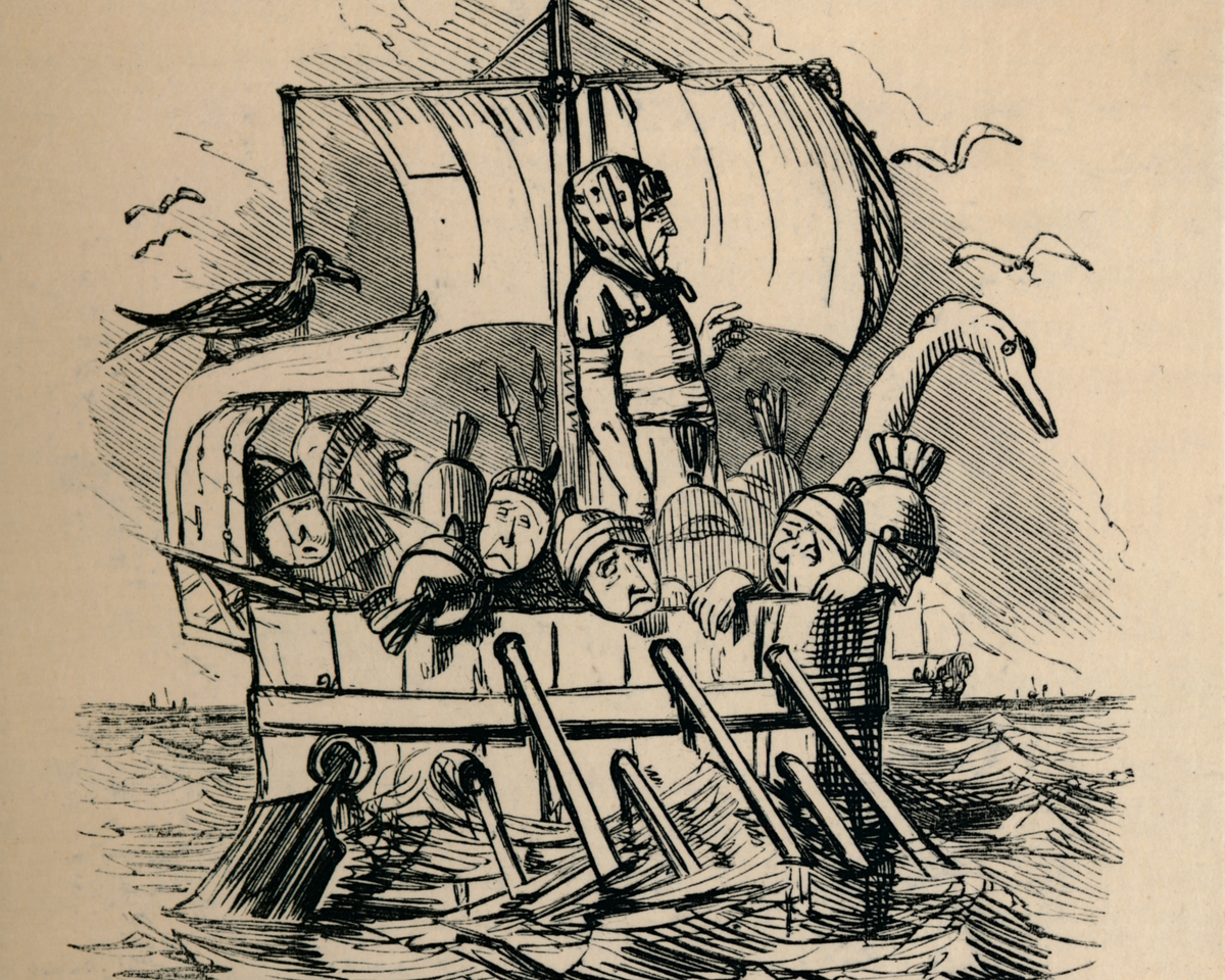 Illustration of Roman soldiers on a boat by John Leech