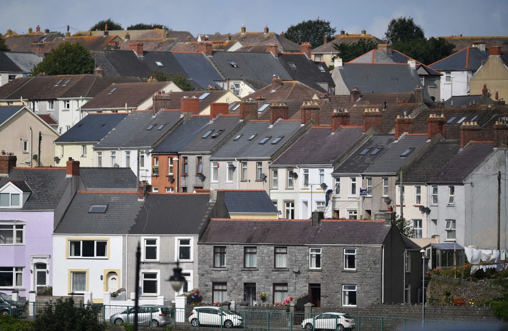 Residential houses are pictured in Milford Haven in Wales