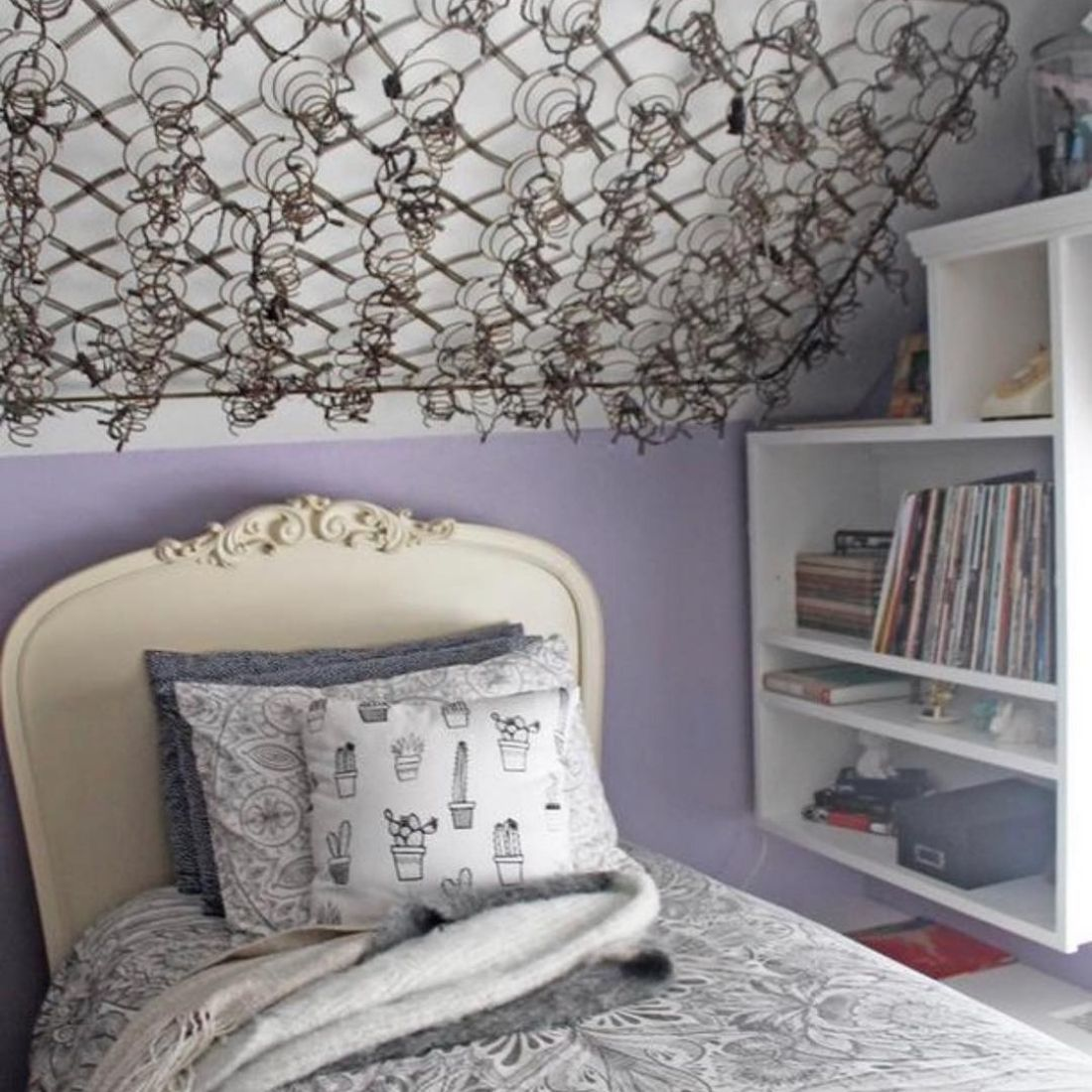 bedsprings on ceiling as decorative piece