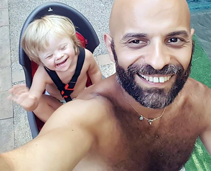 Luca takes a selfie of him and Alba riding a bicycle