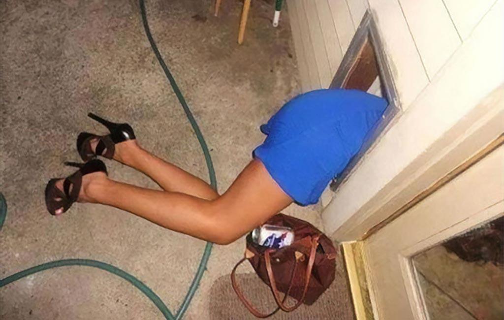 Girl sleeping in dog door