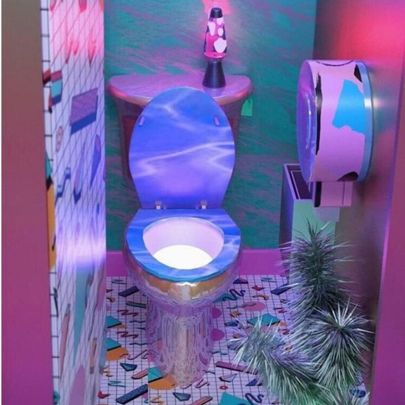 reflective toilet with patterned tile around it