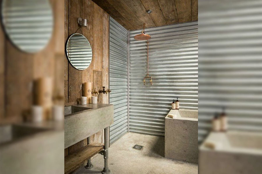 bathroom with tin wall for shower
