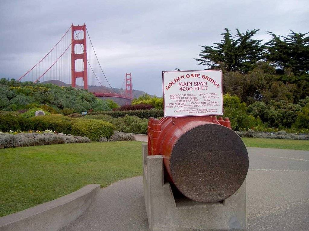 half cut of a golden gate cable