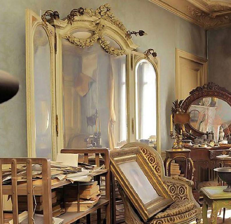 A large, vintage mirror leans against the wall.