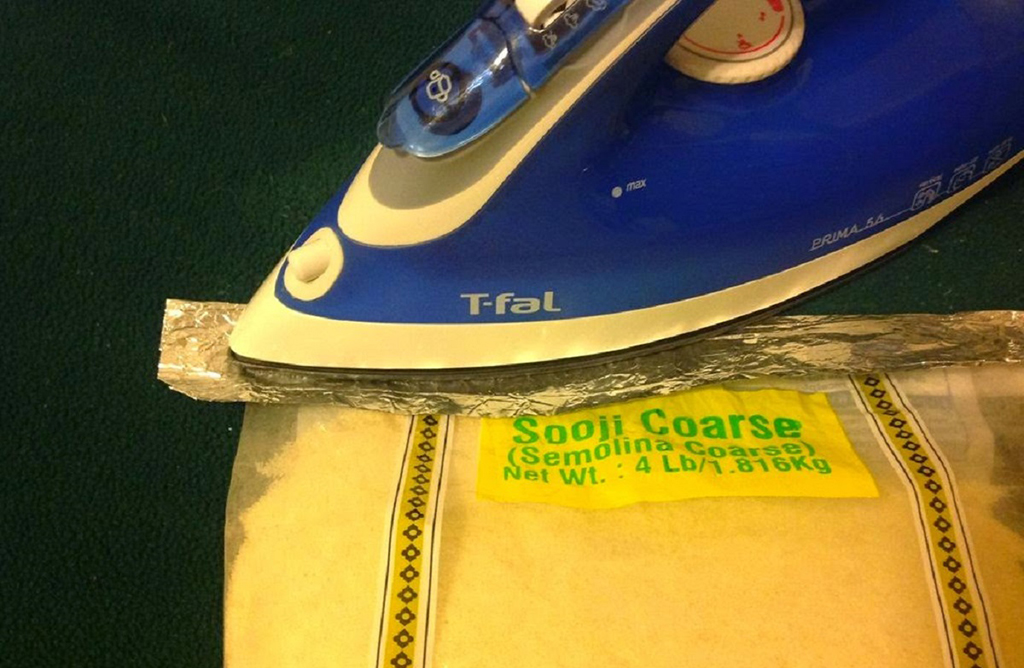 using an iron to re-seal a bag