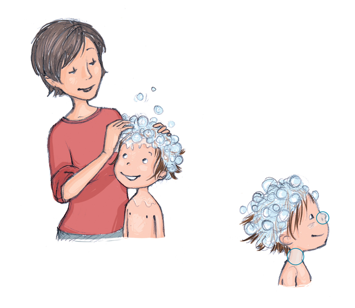 A cartoon features a mother rubbing shampoo into her child's hair.