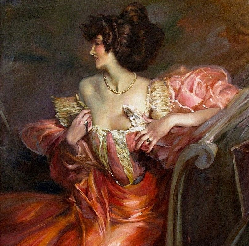 A painting shows Marthe sitting in a pink dress and smiling while her face is turned to the side.