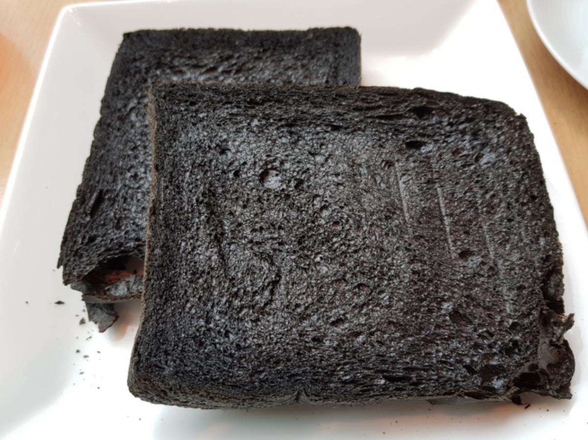 black bread on plate