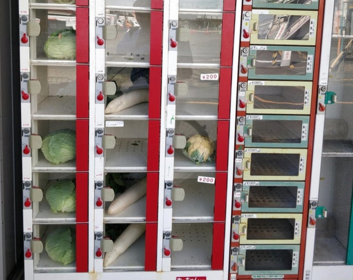 Vending machine full of vegetables