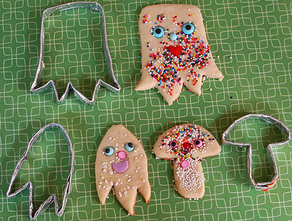Aluminum foil shaped into cookie cutters