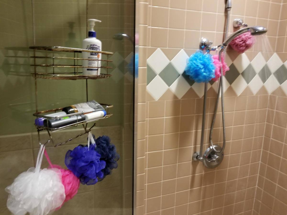 Multiple colored loofahs hang from a shower caddy and showerhead.