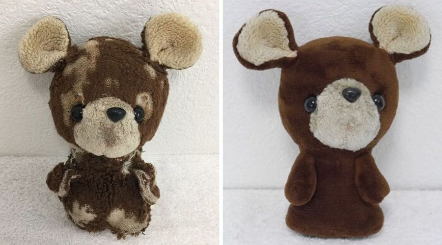 before and after of a teddy