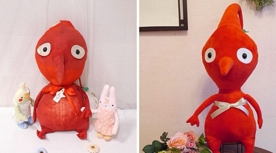 before and after of a red stuffed animal