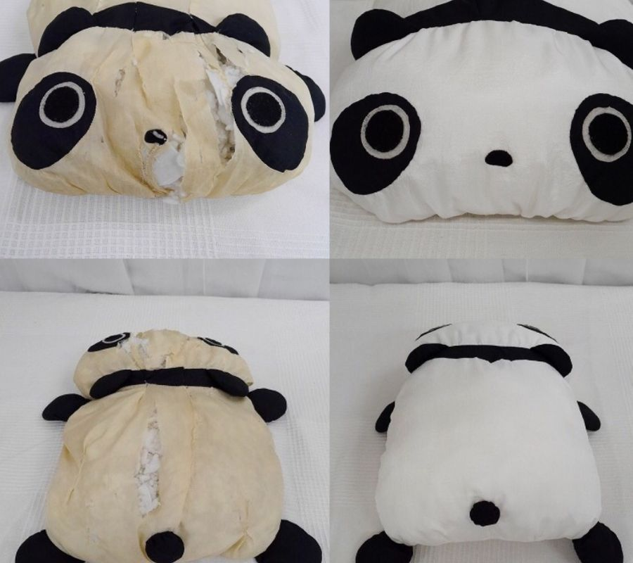 before and after of a panda bear